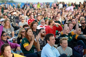 Fans watch the big screen in the Fanzone