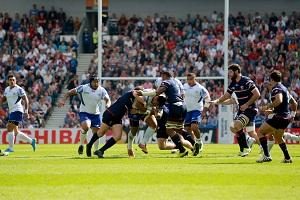Samoa and the USA compete at the Brighton Community Stadium