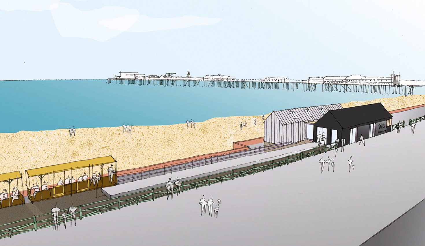 drawing showing volks railway on the seafront