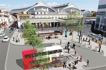 Artist's impression of improved Brighton Station southern entrance