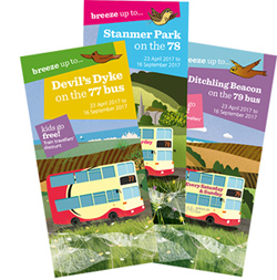 Bus timetable leaflets for Ditchling Beacon, Devil's Dyke and Stanmer Park