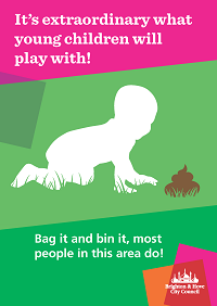 Poster with a silhouette of a child and the words 'It's extraordinary what young children will play with'