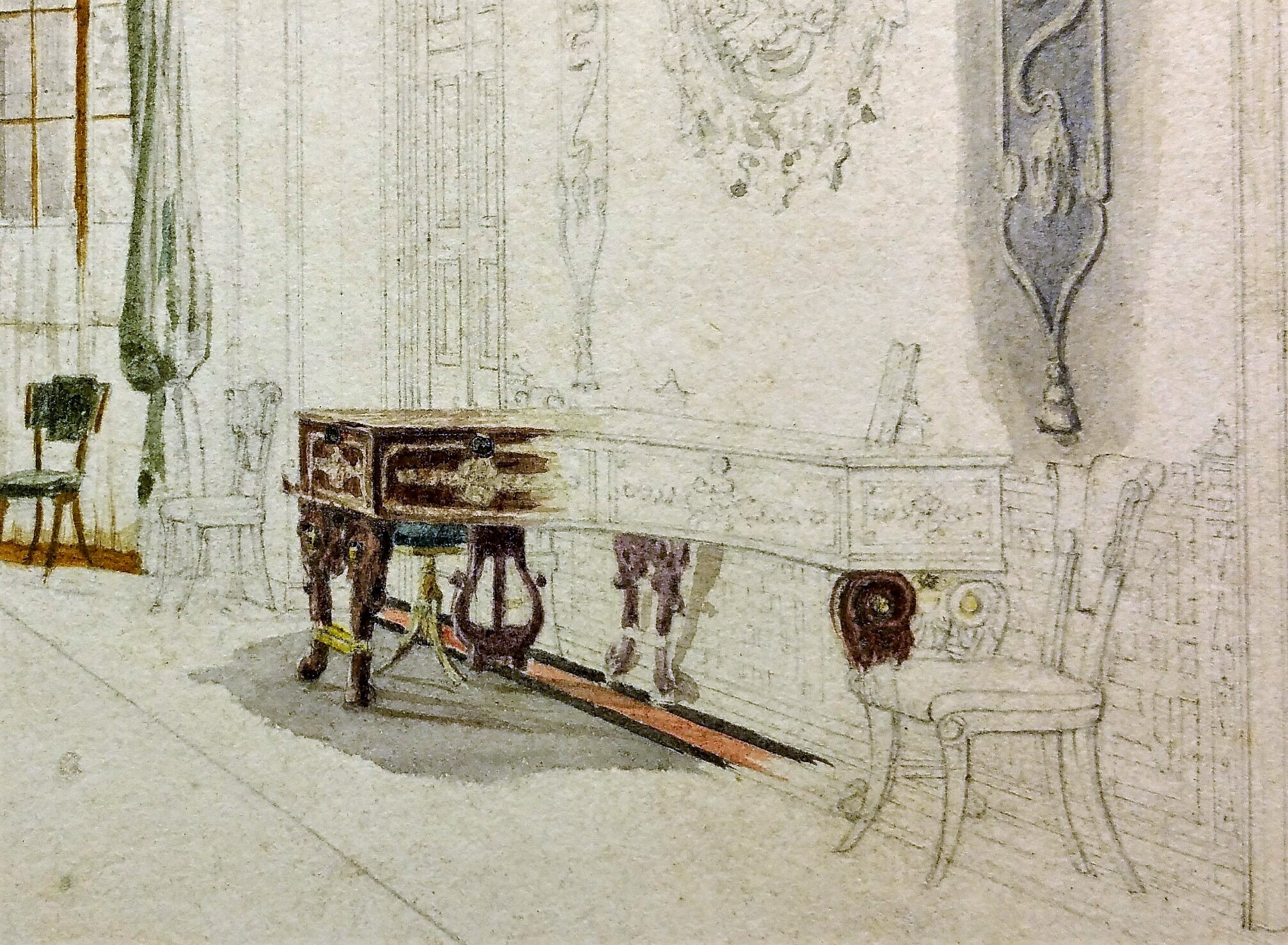 Entrance Hall watercolour Pugin