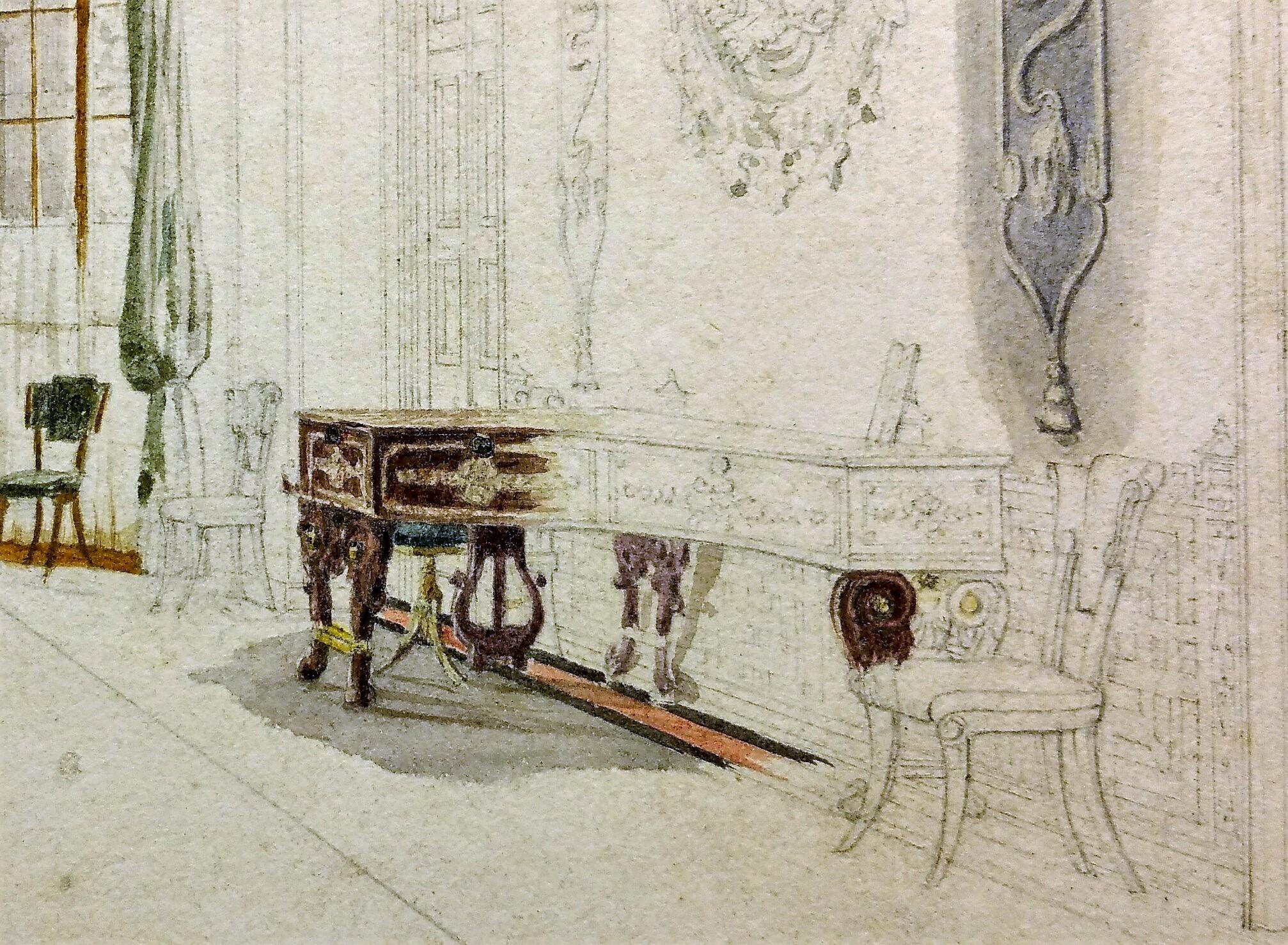 Entrance Hall watercolour Pugin