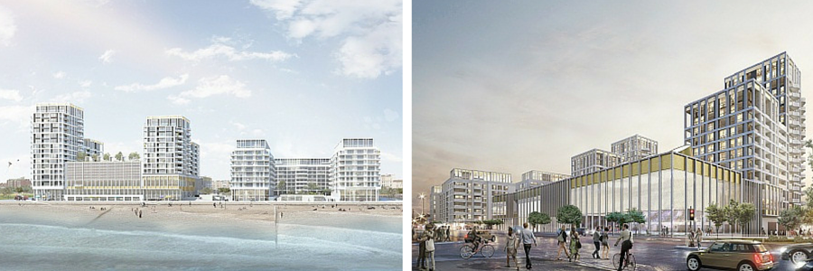 Architectural illustrations of the King Alfred redevelopment from the Kingsway road (A259) and the side of the seafront.