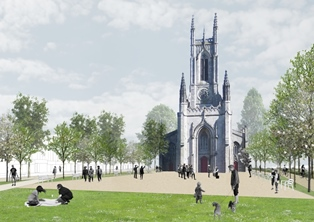 picture of new public square proposed for the front of St Peter's church