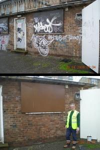 large image of graffiti before and after being removed