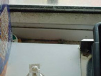 Mould growth on the window frame caused by condensation run-off