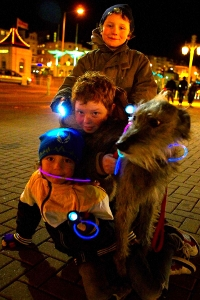 group of children take part in earth hour