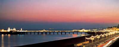 View of the palace pier at dusk - looking west, with sky glowing just after sunset