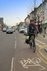 Cyclist in cycle lane