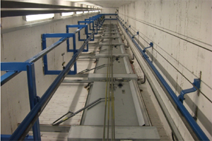 The inside of a lift shaft