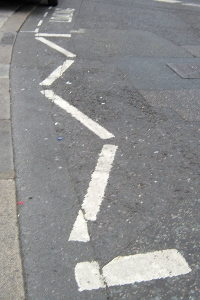 An image of the loading bay zig zag line markings