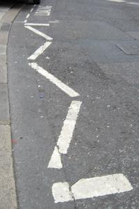 An image of the loading bay zig zag line markings