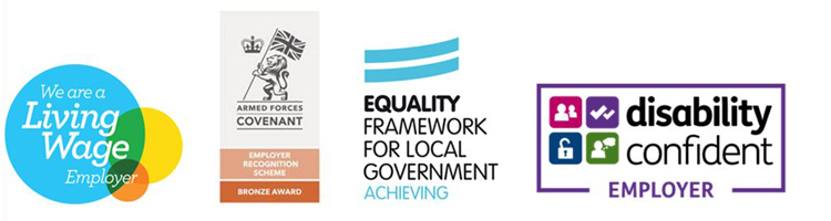 Logos - we are a living wage employer, armed forces covenant, equalities framework, disability confident employer