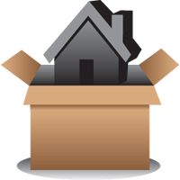 large icon of a house being unpacked from a box