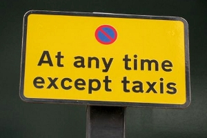 no stopping except taxis sign