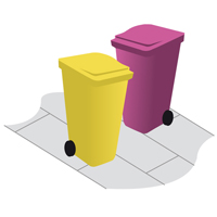 large icon of two business bins on the pavement
