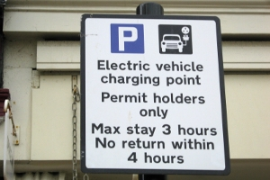 An electric vehicle charging point sign