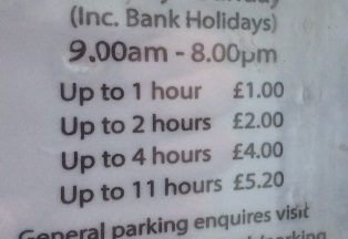 list of prices starting at £1 per hour