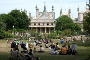 People relaxing in Pavilion Garden