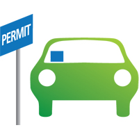 large icon of a car with a permit