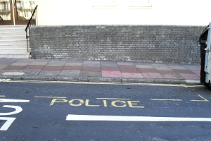 A police bay marked out in yellow
