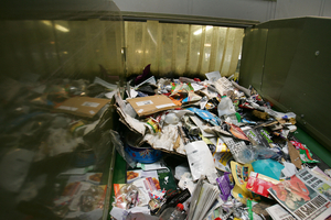 recycling on a conveyor belt