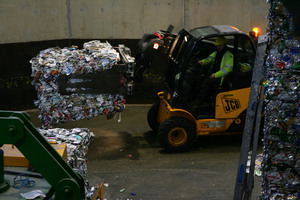 a vehicle carrying the baled recycling