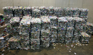 large bales of plastic bottles stacked up