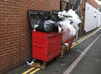 small image of red business bins overflowing