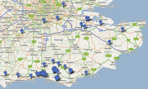 A map of Brighton & Hove's recycling which gets sent and processed in the south of England
