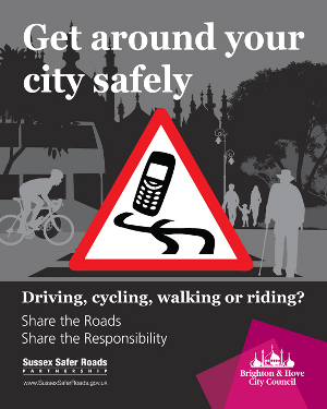 Get around your city safely - mobile phone danger poster