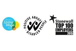 Living wage, two ticks and stonewall top employer logos