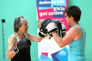 A lady taking part in a In Shape for Life Session