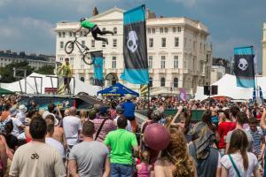 Bike stunt jump on the seafront
