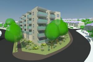 Computer image of flats to be built in Findon Road, Whitehawk