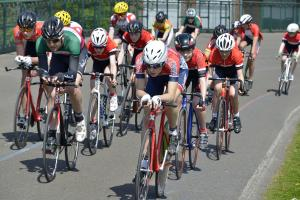 Group of cyclists on the track