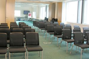 Jubilee library conference hall laid out with chairs theatre style