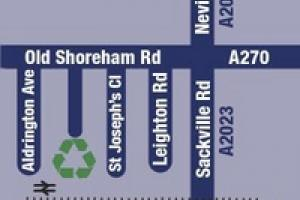 small map showing the Hove Recycling Centre