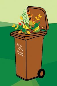 Garden waste brown wheelie bin