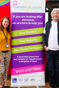 Katy Razavi and Jeffrey Stevenson from the council's adult social care team helped launch the new Carers' Hub