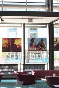 Jubilee library window gallery is beside the seating area looking onto jubilee square