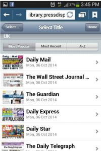 Screenshot of Newsstand on a mobile phone