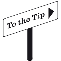 large icon of a sign pointing to the tip