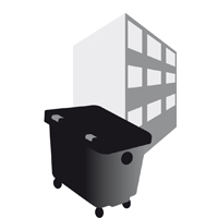 large icon of a bin by a block of flats